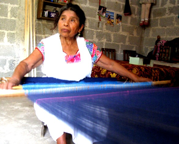 Local crafts abound. This lady near Cuetzalan weaves amazing fabric in her home.