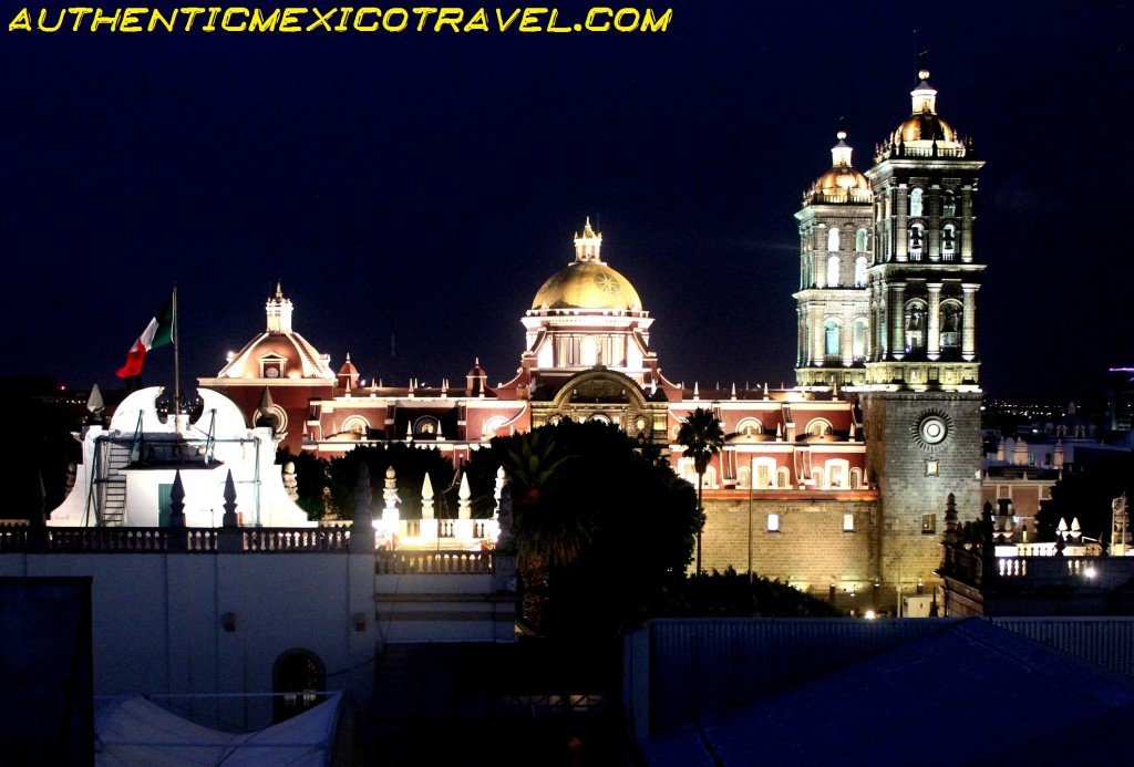 The immense cathedral in Puebla City.